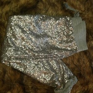 Silver sequin sweats